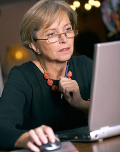 Woman researching what to do once diagnosed with CRPS or RSD