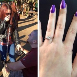 Sammie and Aaron get engaged with zebra print cane in hand. CRPS engagement story