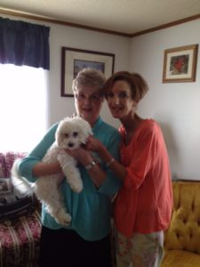 Shannon, her mom, and dog Finian. Shannon's mom has helped her with her battle with CRPS and has been one of her biggest supporters