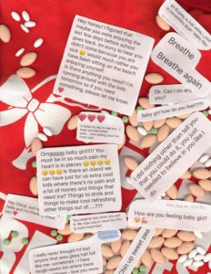 Caroline, a young adult photographer with CRPS, took an image of her medications and texts and messages she has received during her time with CRPS