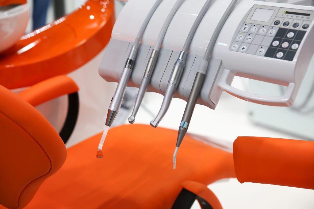 Orange dentist chair